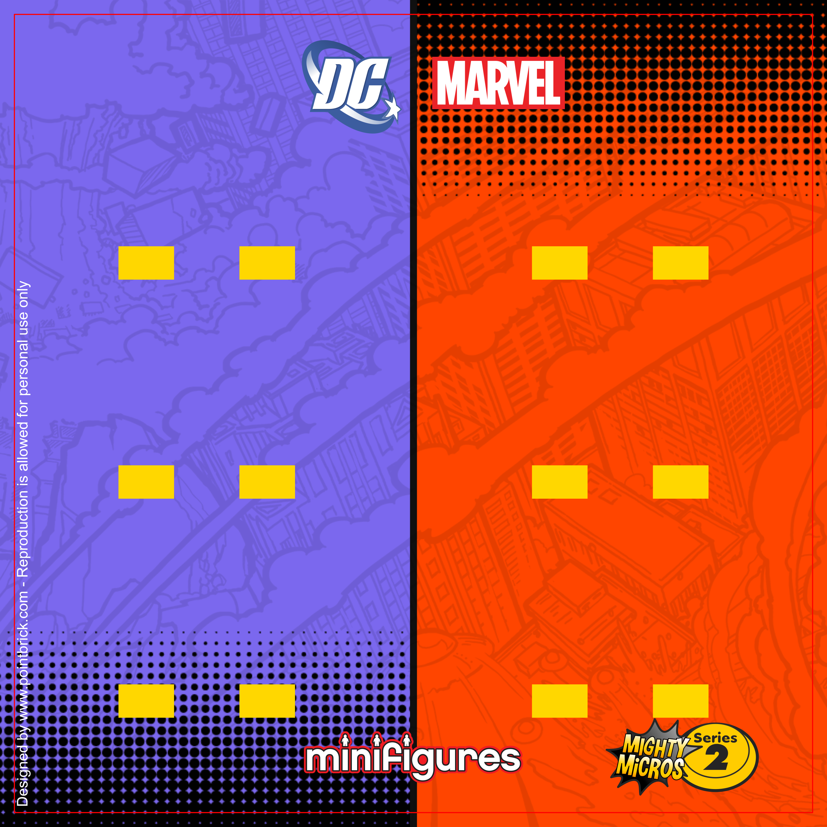 LEGO Minifigures Super Heroes - Series Mighty Micros 2 - Display Frame Background 230mm - Clicca sull'immagine per scaricarla gratuitamente!
